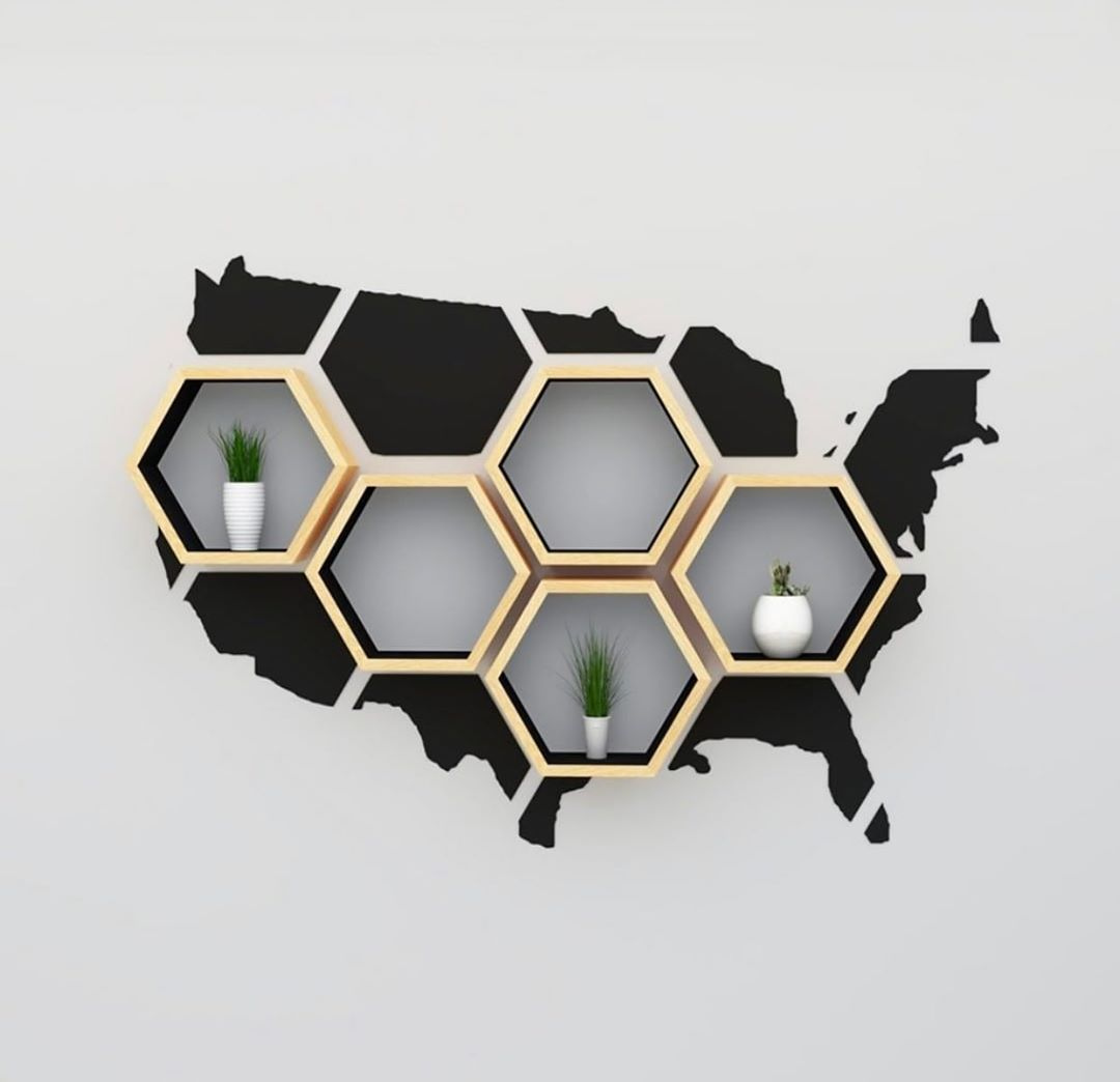 USA Map Hexagon Shelf by @bespoakinteriors.  Visit: http://www.mesmerized.it  #archimodel #architecture #americanarchitecture #minimalist #parametric #parametricarchitecturepic.twitter.com/nBC2O8Z7PK