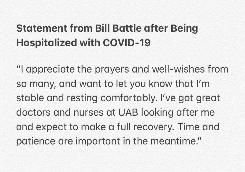 Continued thoughts and prayers for Coach Battle for a full recovery.