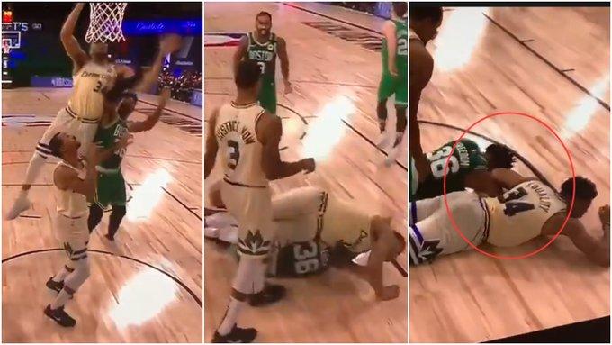 【影片】驚險一幕!聰明哥搶籃板疑似勾住字母哥手臂,往地板上「過肩摔」!