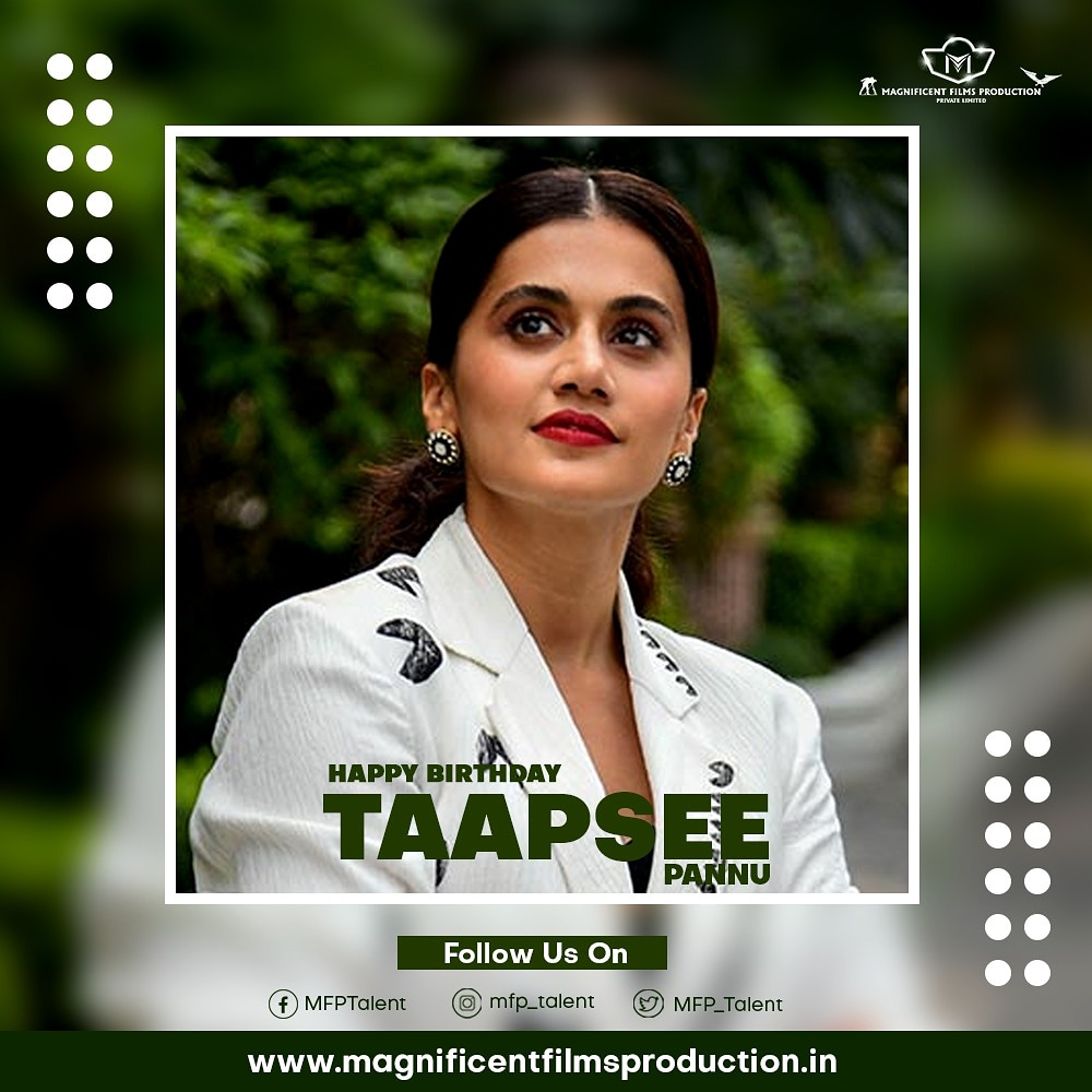 Happy Birthday to most Talented  Model,Actor and one of the most ''BINDAS GIRL''  @taapsee  May your Future shine bright.  @pannutapasee @ATaseeFan  #taapseepannu #taapseepannubirthday #hbyd #southmovies #tollywood #bollywood #badla #thappad #judwa #saandkiaankh #pinkpic.twitter.com/EfzNU2HVAy