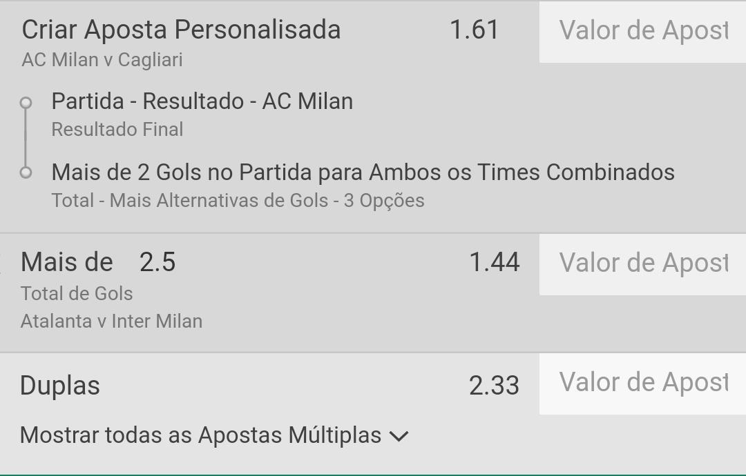 🇮🇹 Serie A Milan x Cagliari (15:45h) Atalanta x Inter (15:45h) https://t.co/8fiNhpFzcX