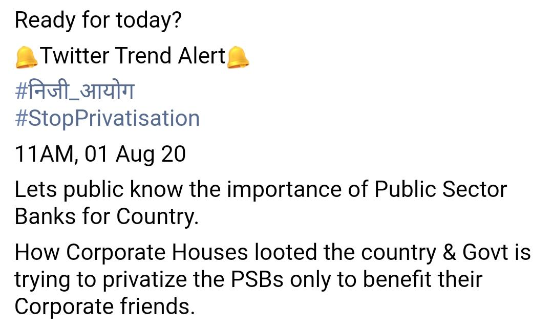 Support for the public sector bank not to be privatize.  #banking #ssc #upsc #finance #bank #currentaffairs #gk #ibps #ias #business #money #railway #ssccgl #india #rrb #ips #sscchsl #realestate #news #education #ibpsclerk #facts @PMOIndia @RBI @public @WorldBank @Ibpsexampic.twitter.com/ZiBkZ1D2Bh