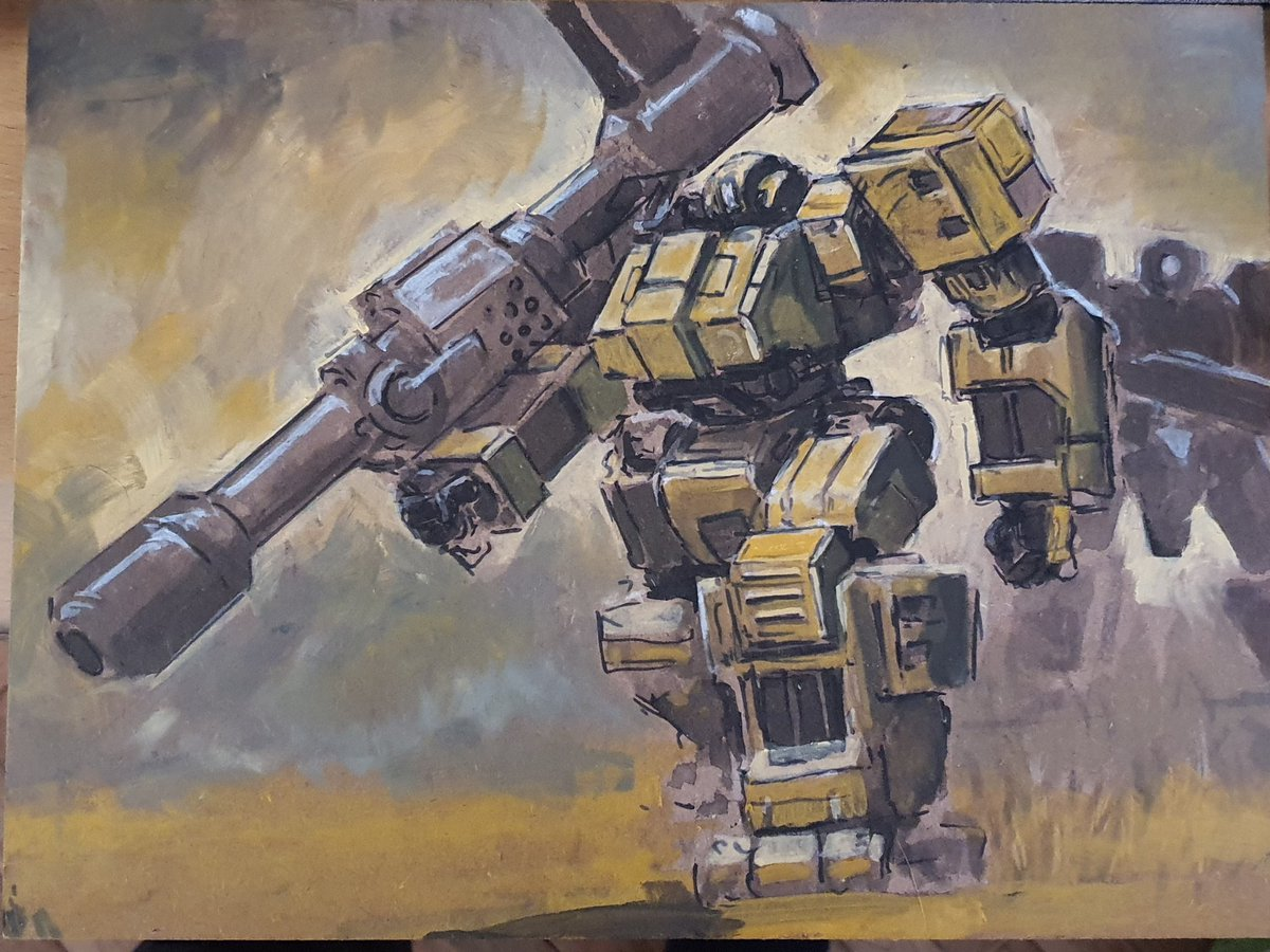 Taking a break from 3d modelibg to begin working on the Mastiff box art. Im not sure where im going with colors but will be tackling this more impulsively. #painting #oilpainting #illustration #wip #mech #mecha #robot #gameartpic.twitter.com/rAODC6oSnj