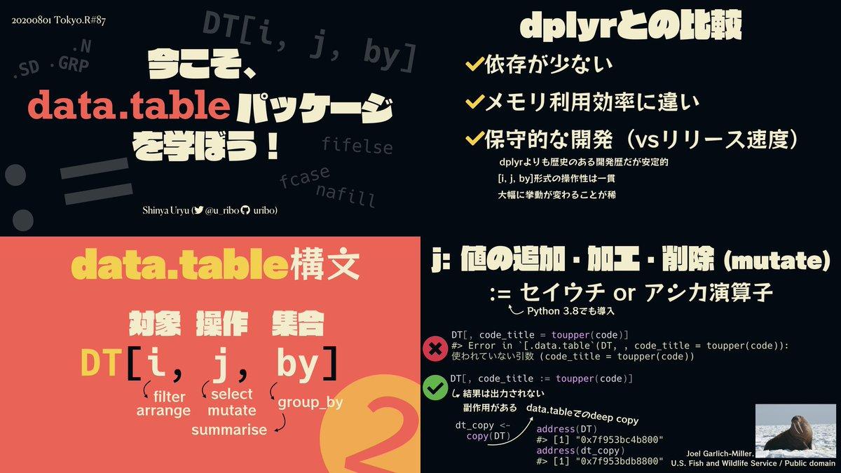 #tokyor 本日の発表資料です。dplyr(tidyverse)も良いけどdata.tableもいいよ!