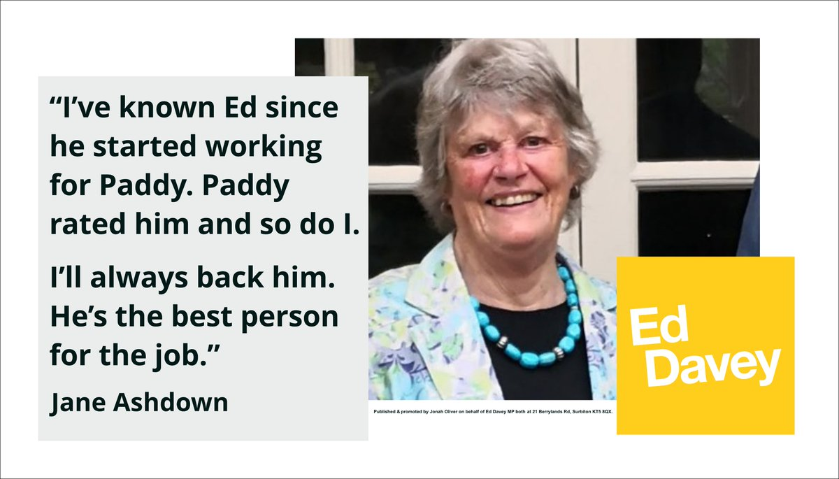 Jane Ashdown has seen up close what it takes for Liberal Democrats to cut through and win. Her support for Paddy as he built our brand, led winning campaigns and made waves on international and domestic issues was invaluable. I am so pleased she has voted for me. #VoteEd