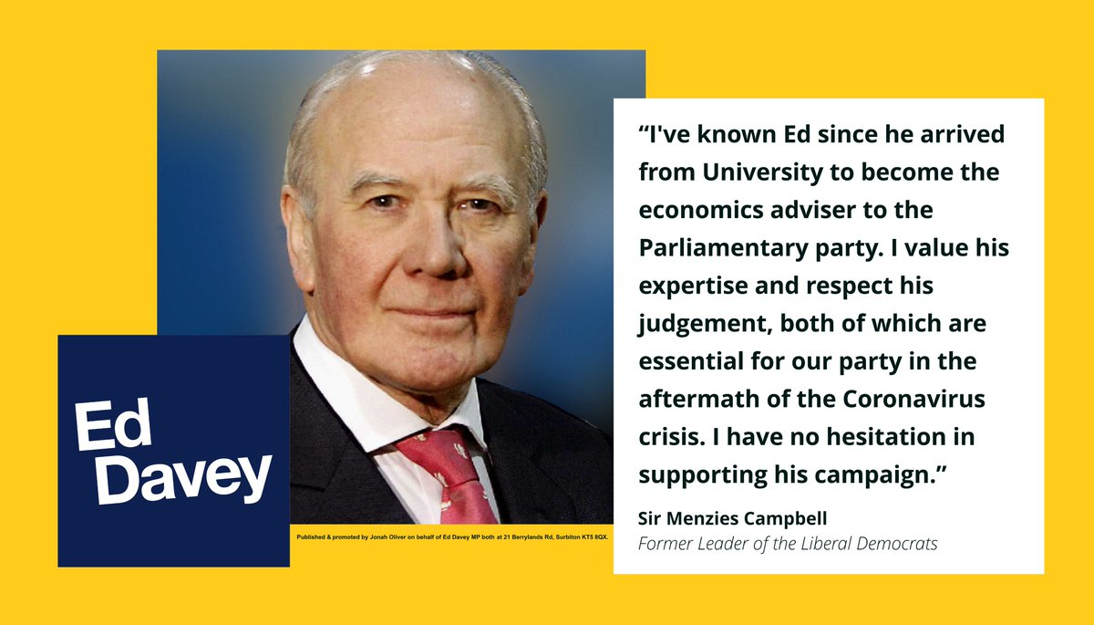 Thank you to former @LibDems leader (and Olympic sprinter!) Ming Campbell. From the moment he beat Thatchers Tories in N.E. Fife, Ming has been a tenacious champion of our liberal values-particularly on human rights. I am honoured that he has voted for me. #VoteEd today!