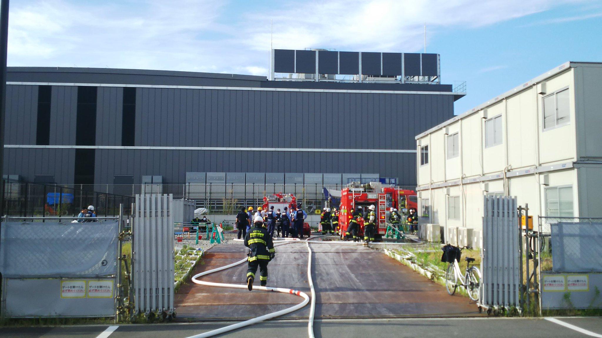 画像,火事は鎮火しました。むかし東芝の工場があった場所です。現在は、大手門学院大学・新キャンパス、福祉施設、住宅などがかるところです。火事は大手通信事業者データセンタ…
