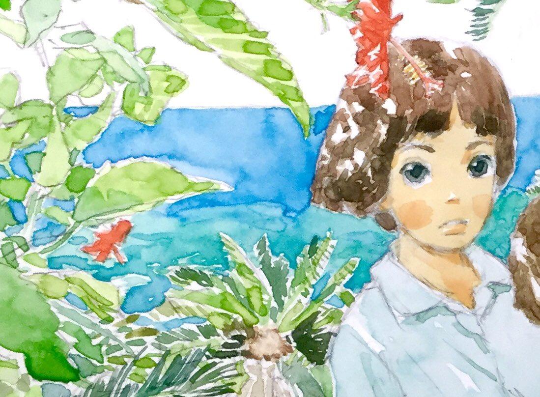 「神の島のこどもたち」の文庫版カバーを描かせていただきました。#中脇初枝 著 2020年8/12発売。講談社文庫。沖永良部島での生活と戦争を生きた子供たちを描いた小説「#神に守られた島」「#神の島のこどもたち」の2篇を収録。amazon→ カバー原画より(部分)