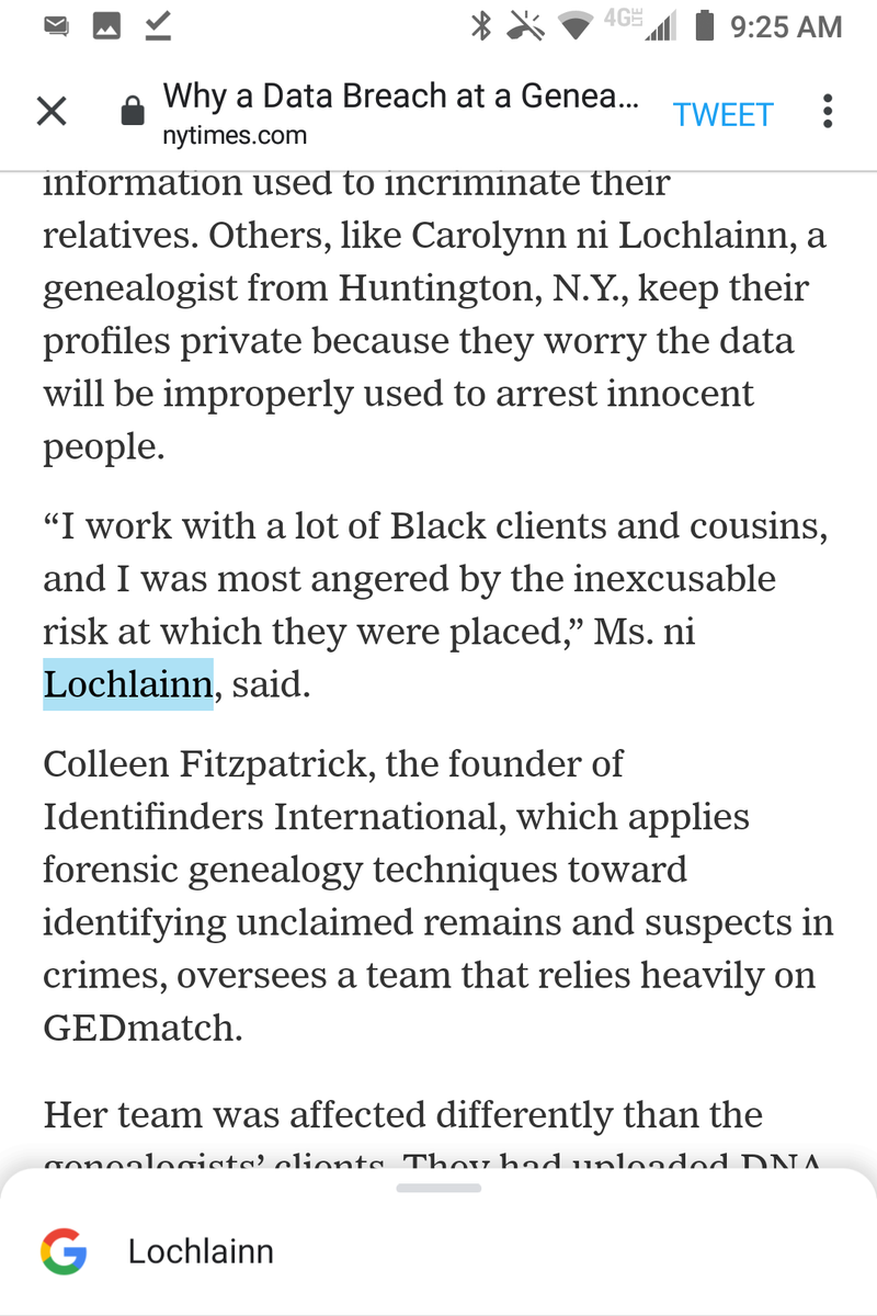 "@nytimes Ungrammatical subject-verb-splitting comma (""Ms. ni Lochlainn, said."").  ""their relative's searches"" should probably be ""their relatives' searches.""  @heathertal https://t.co/eJS80fTAxi"