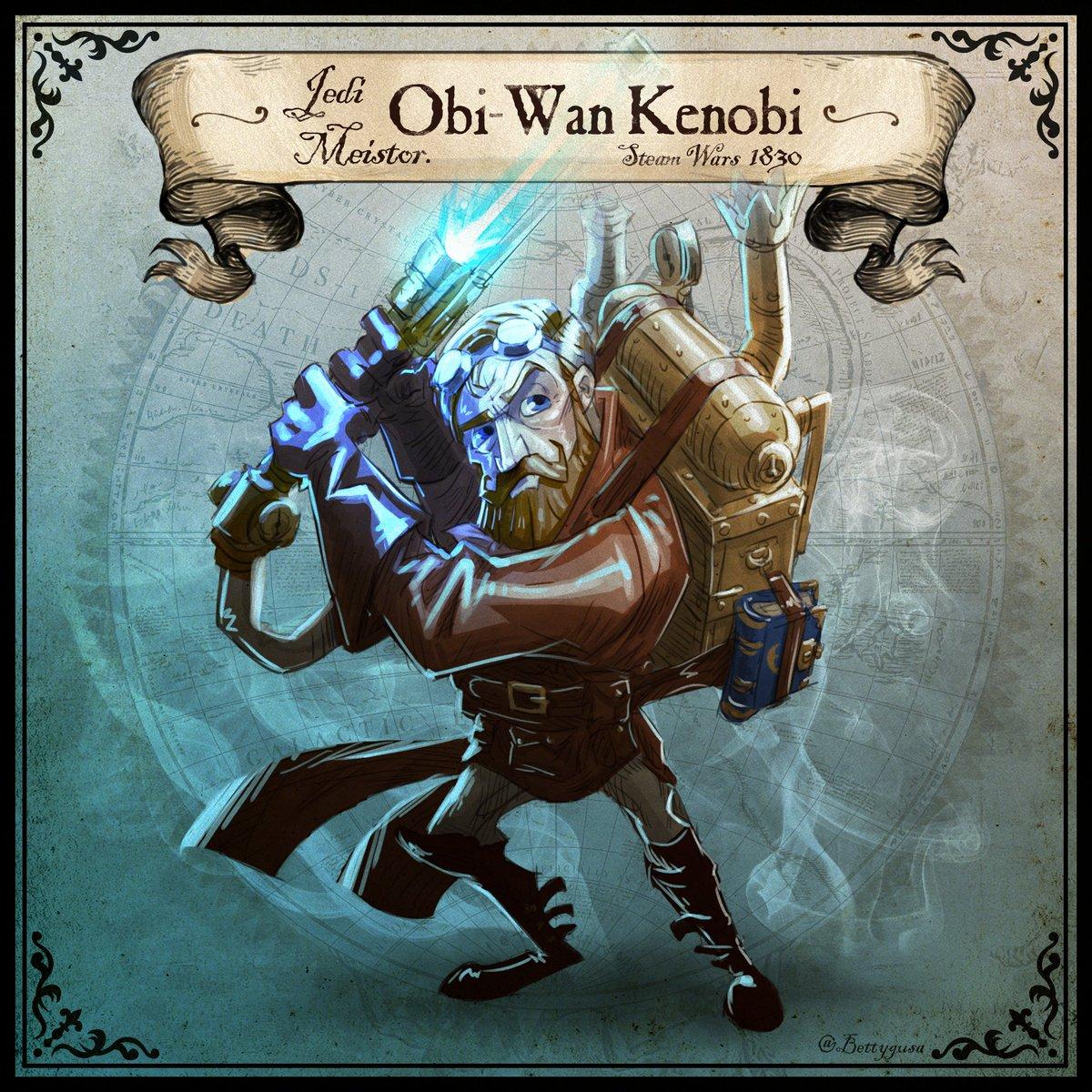 #Artwork Awesome of the Day: #Steampunk ⚙️ #StarWars Obi-Wan Kenobi #Illustration 🖼️ By #2D Artist #Designer @bettygusa #SamaArt