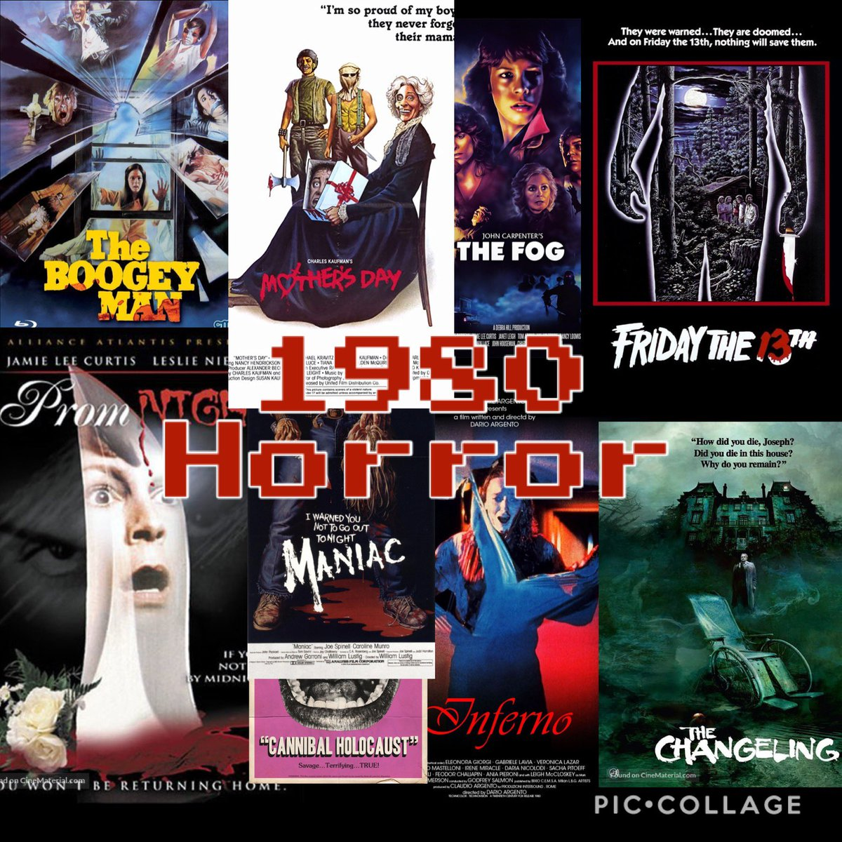 I made this! What's your favorite #horror movie from 1980 #HorrorFamily #MutantFam ?  Cannibal Holocaust Friday the 13th Inferno Mother's Day Prom night The Boogey Man The Changeling The Fog pic.twitter.com/6nLlSxIAjq
