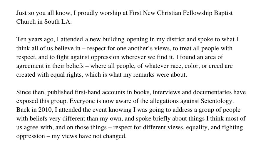Just so you all know, I proudly worship at First New Christian Fellowship Baptist Church in South LA. https://t.co/1sEpF5KpRF