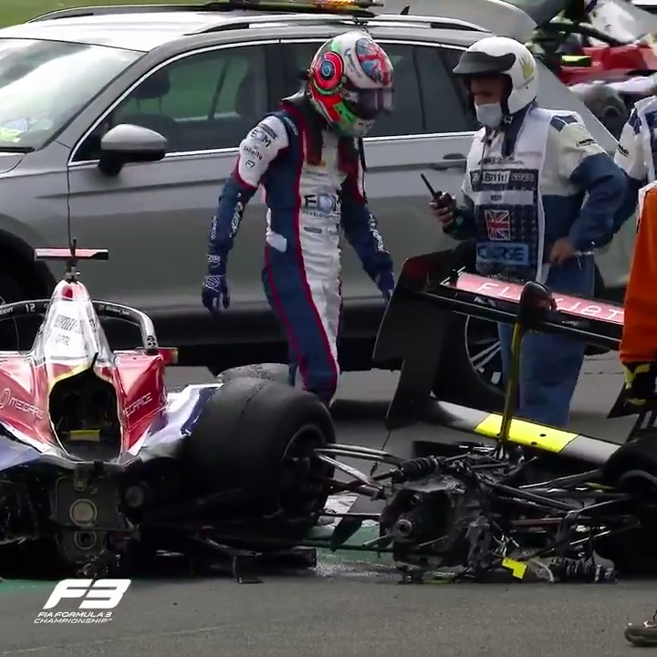 Huge impact in Saturday morning's @FIAFormula3 race 😱  Thankfully both drivers were unharmed, although the same can't be said for @ollicaldwell64's car 💥  #BritishGP 🇬🇧 #RoadToF1  https://t.co/T0SjZIU7wV