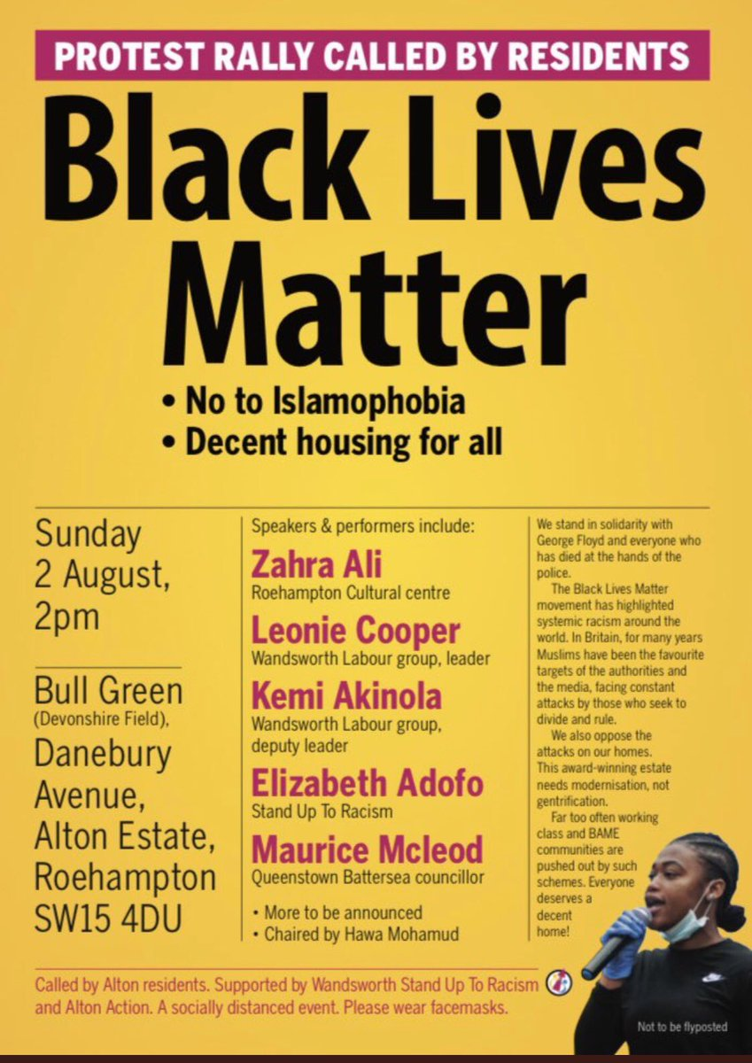 📣 TOMORROW - #BlackLivesMatter Rally in #Roehampton 2pm-3pm on the green on Danebury Avenue. All welcome! Led by residents from the Alton Estate, with @LeonieC @BeeKemiA & @mowords - Socially distanced please. #Solidarity #PeacefulProtest