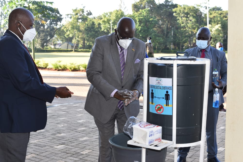 Photo: Education CS Prof George Magoha when he visited Maseno University. He reiterated that many Universities are not ready for reopening in the context of the health guidelines on covid-19. He asked the institutions to adopt Online learning prior to face to face sessions in January 2021.