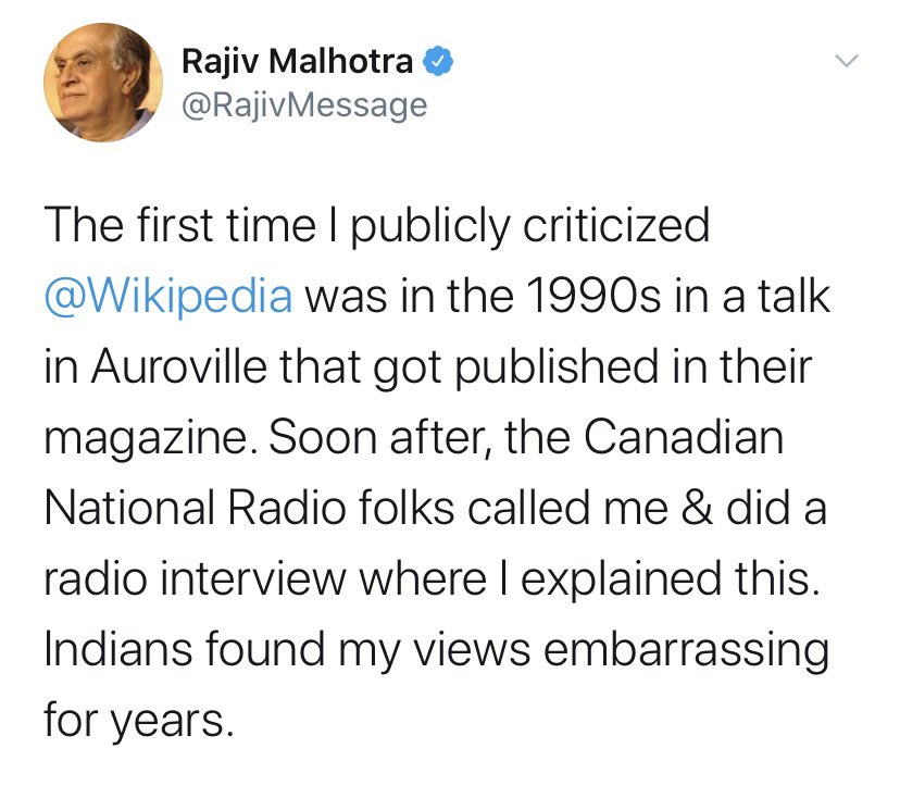 There is a good reason Indians still find his views embarrassing. Wikipedia Started in 2001 and he publicly criticised it in 1990's https://t.co/5o0Ty4uP7Z