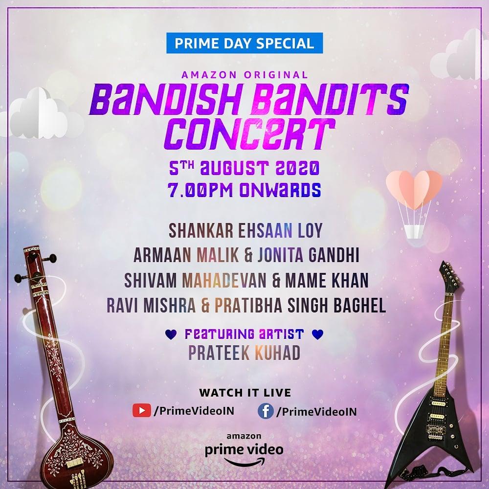 A concert that'll bring together the spirit of pop & classical like no other 🎤🎼. Join us in the #BandishBandits Concert on Aug 5 @ArmaanMalik22 @jonitamusic #ShivamMahadevan @MameKhanMusic #RaviMishra @ipratibhasingh @prateekkuhad  @PrimeVideoIN @shreya_chaudhry @ritwikbhowmikk