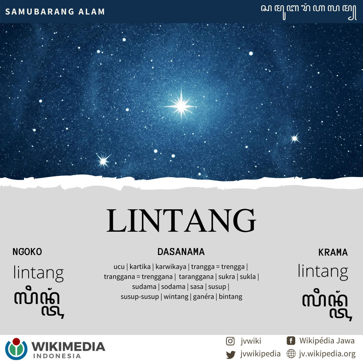 Kiriman Wikipédia Jawa dina iki bab #SamubarangAlam. - Kintunan Wikipédia Jawa dinten punika bab #SamukawisAlam. - Ngoko-Krama: lintang (ꦉꦩ꧀ꦧꦸꦭꦤ꧀)  #javanese #wikipedia #jawa #nature #star #alam #bintang https://t.co/W5OgQNZRHk