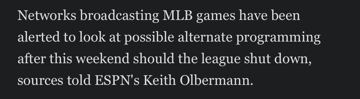 NEWS: the @mlb shutdown Commissioner Manfred threatened union chief Tony Clark yesterday, could come as early as Monday.   MLB has warned its tv partners, per sources inside and outside the game.  Update included in ESPN's @JeffPassan's original report: https://t.co/2svotCEGe0 https://t.co/2FPT3HCRmC