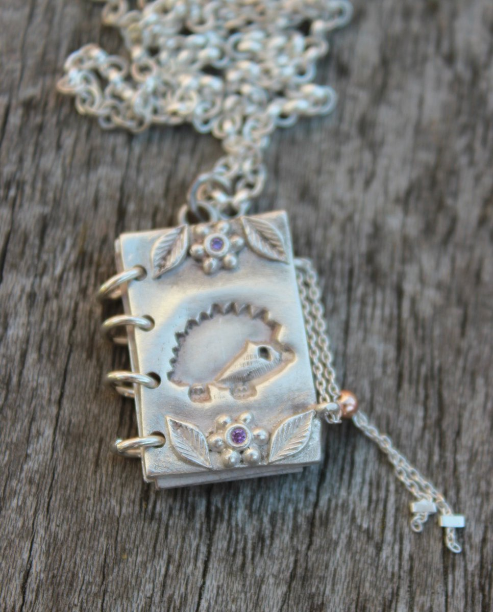 Solid silver #hedgehog book charm with pages inside. Finished with rose gold sliding bead. What colour gems will you pick for yours? Made to order only. Message me for info. The best ever gift for any hedgehog lover!
