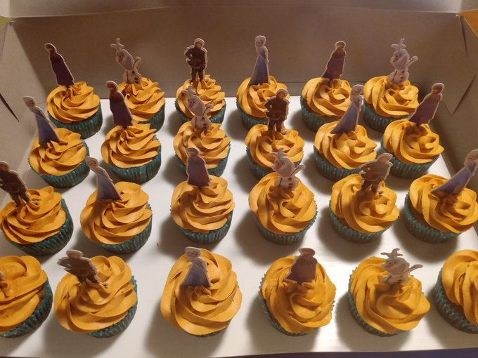 3 pic. Homemade, Frozen cupcakes! The orange ones are banana cake with peanut butter frosting and the