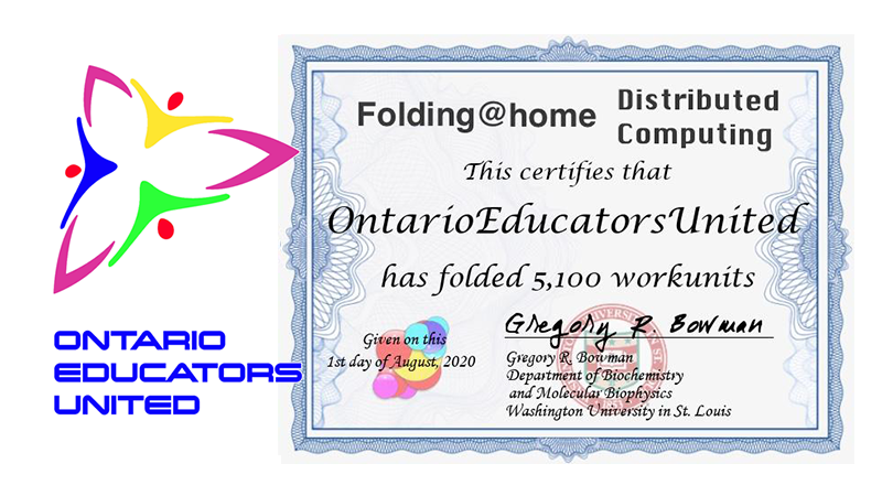 Since April, our #fightCOVID #OntarioEducatorsUnited project has completed 5100 work units, and amassed over 100, 000, 000 points! @banana29 @tk1ng @jpedrech  @JenApgar  @maximilianking9 @Mr_Severino @JCasaTodd @sig225 @foldingathome @balena_io https://t.co/HXpEKX2DBk