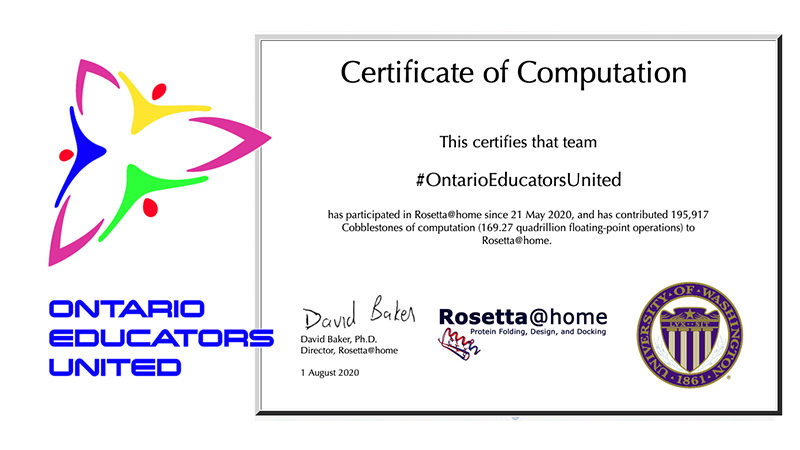 Since May, our #FightCOVID #OntarioEducatorsUnited team has contributed 195, 917 cobblestones of computing using #RaspberryPi computers for #foldingforCOVID  @tk1ng @RosettaAtHome @foldingathome @BOINCnetwork @balena_io  https://t.co/HXpEKX2DBk