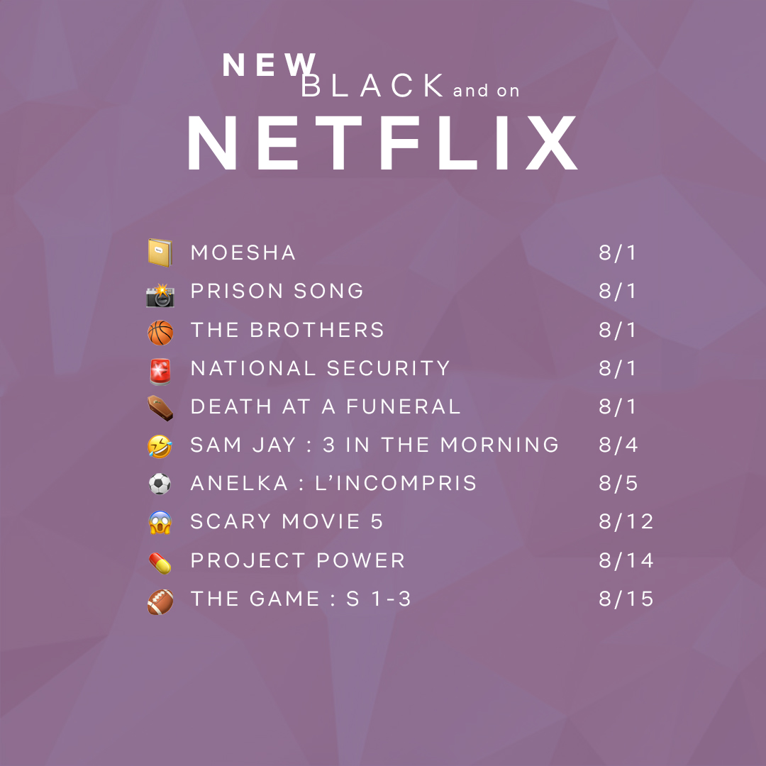 Strong Black Lead On Twitter Going Into This New Month With Heat Here S What S New Black And Coming To Netflix In August