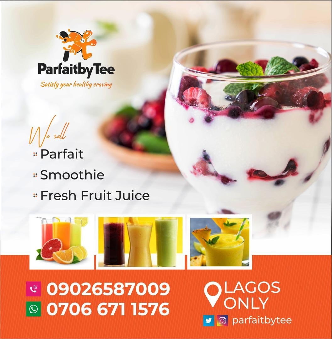 Good health is good business, and that's why I'm introducing the best and healthy parfait and smoothie in Lagos from @parfaitbytee It's 100% affordable and healthy. Send a dm or WhatsApp message on 07066711576 to place an order