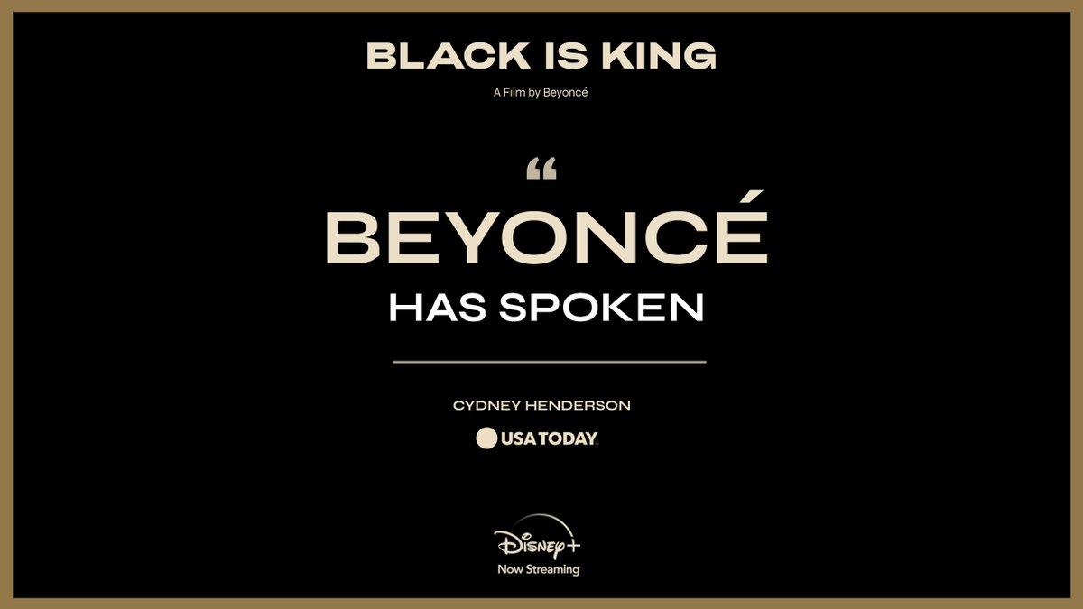 """Beyonce has spoken."" #BlackIsKing, a new visual album from Beyoncé, is now streaming on #DisneyPlus."