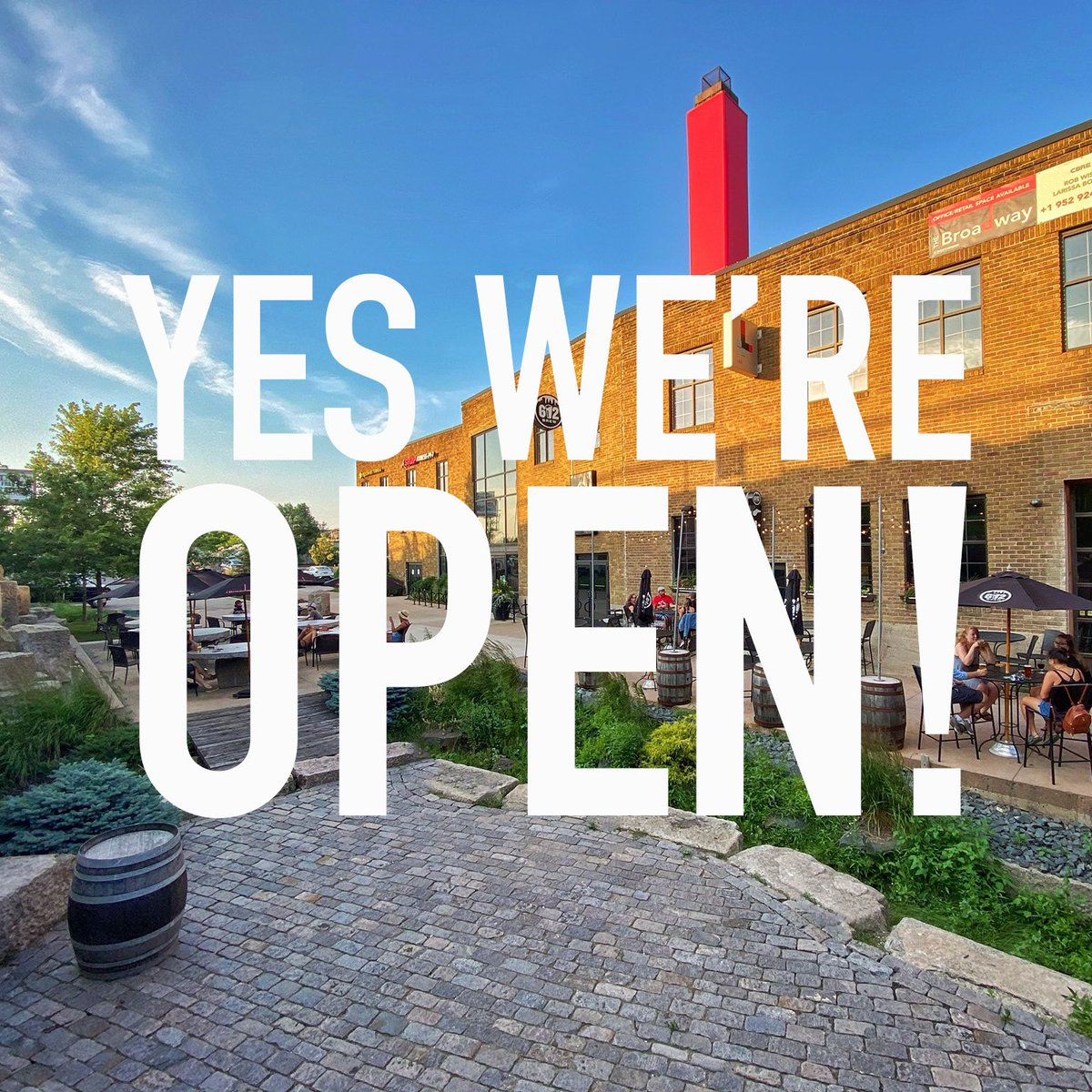 To answer your question, yes we're open. New safety precautions go into effect today in Minneapolis, which means the bar area is off limits but that doesn't mean you can't come enjoy a beer. We have ample space both inside and on the patio for social distancing. Cont... https://t.co/12hfcc53T7