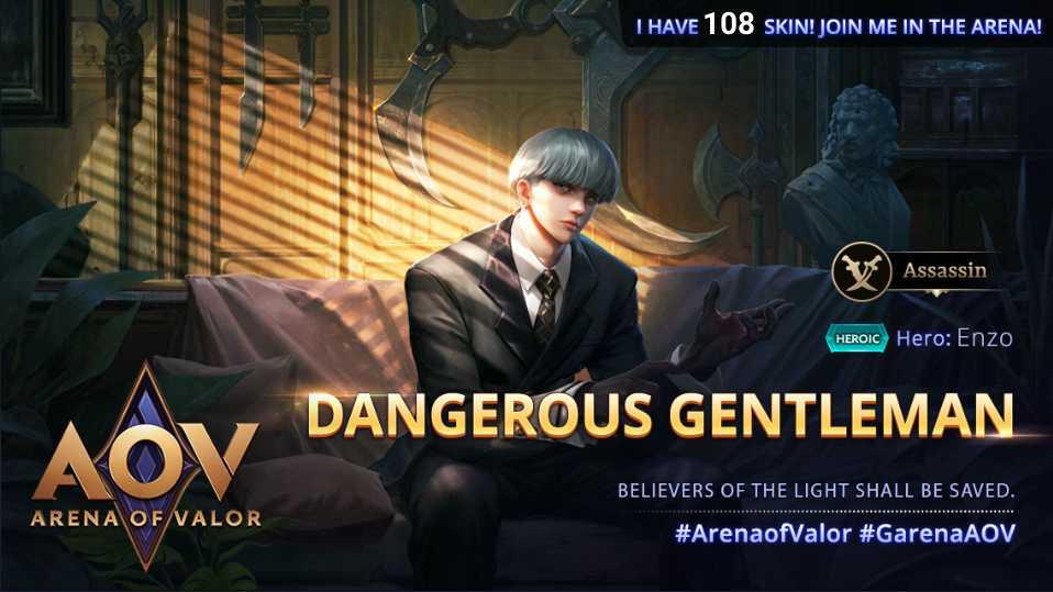 #GarenaAOV #ArenaofValor #NewSkin #DangerousGentleman #HeroicSkin #Enzo #Assassin #Mobility #Finisher #Jungling #Skin108pic.twitter.com/cC7cYnFi9Z