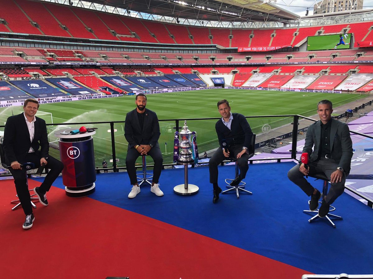 Calm before the storm here at Wembley. Great to be back for @btsportfootball with @rioferdy5 @mrjakehumphrey and Joe Cole 👌  Very excited for the #FACupFinal tonight (except for Rio 😡🤣) let's go ⚽️🏆! https://t.co/EYycdFh1uZ