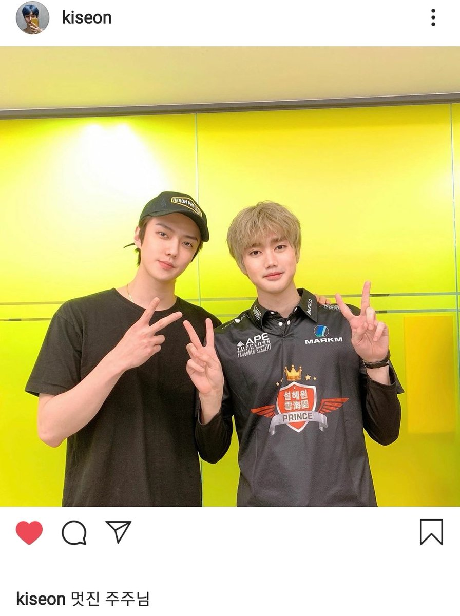 """League of legends pro-gamer Kiseon recent instagram update with Oh Sehun who recently became Seolhae One Prince shareholder.   Caption: """"cool shareholder""""   #세훈 #SEHUN #吴世勋pic.twitter.com/MHaDSTnO7j"""