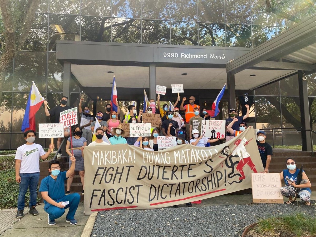 ICYMI: Anakbayan ATX and other Texas groups and individuals held a People's SONA caravan in Houston, TX to condemn the US-Duterte regime's fascist dictatorship! #SONAgKAISA #OUSTDUTERTENOW pic.twitter.com/87ABQ5vqCv