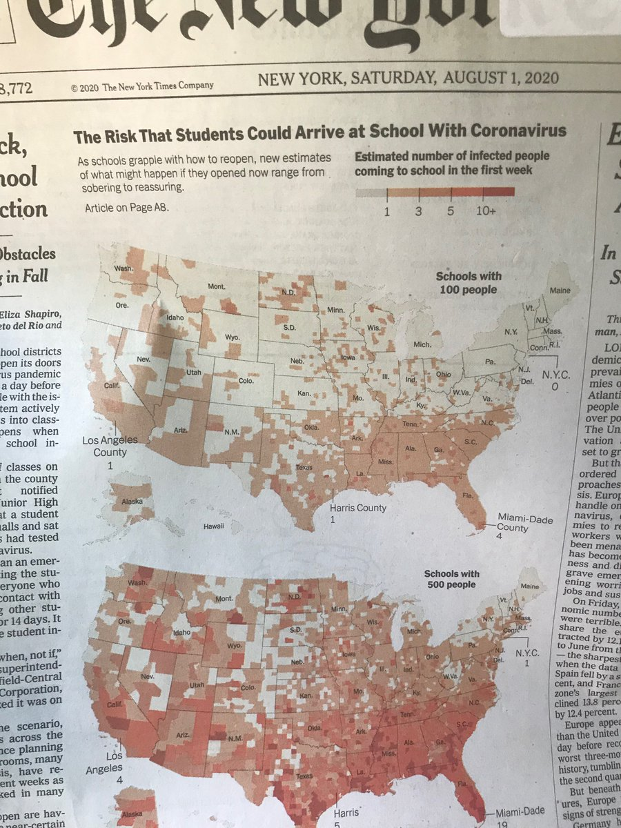 A bow to the NYT data viz team for the brilliant treatment of our story on schools and infections in today's paper. Thank you @archietse @joshkellerjosh @mathisonian @LazaroGamio from @jamesglanz @bencareynyt https://t.co/Jen4zEpfPA