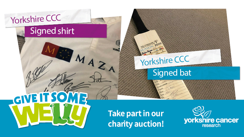 Our #GiveItSomeWelly auction ends tomorrow! What better way to celebrate #YorkshireDay than by bidding on these two @YorkshireCCC items?  🏏 Signed bat   👕 Signed shirt   Thanks to skipper Steven Patterson for the donation!  #OneRose