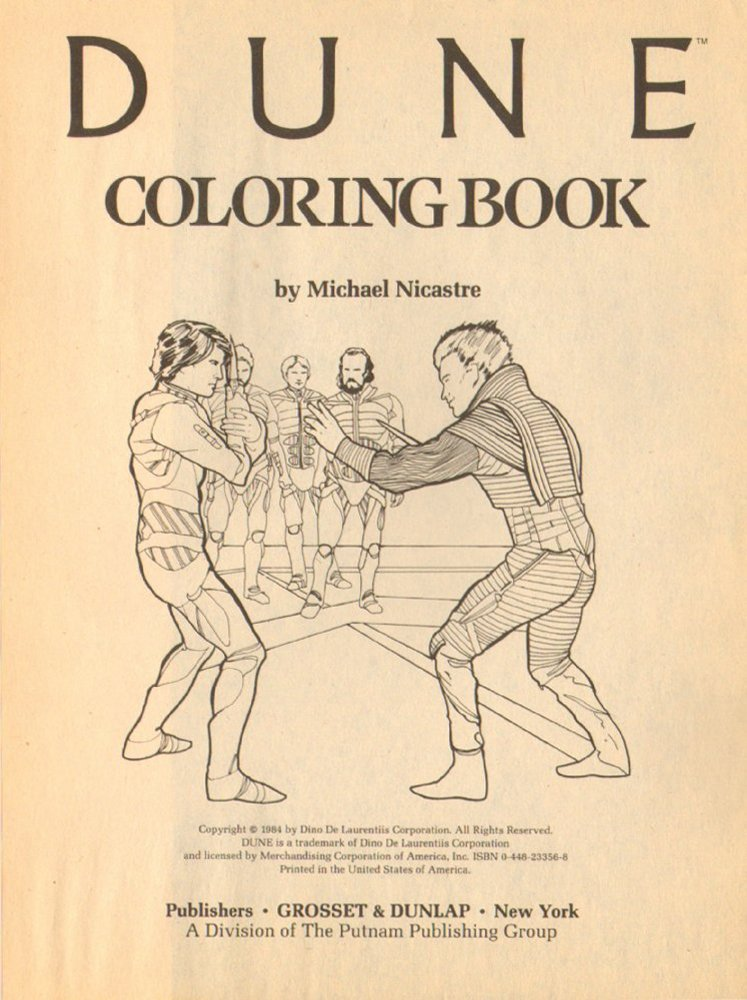 Pulp postscript: whilst youre waiting for the Directors Cut of Dune why not enjoy the existential bleakness that is the 1984 Dune colouring book. Remember: the careful crayon stays within the lines!