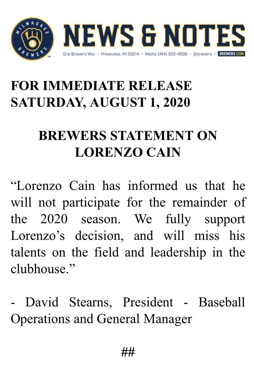 Lorenzo Cain has opted out. https://t.co/fW0KbIOKNG