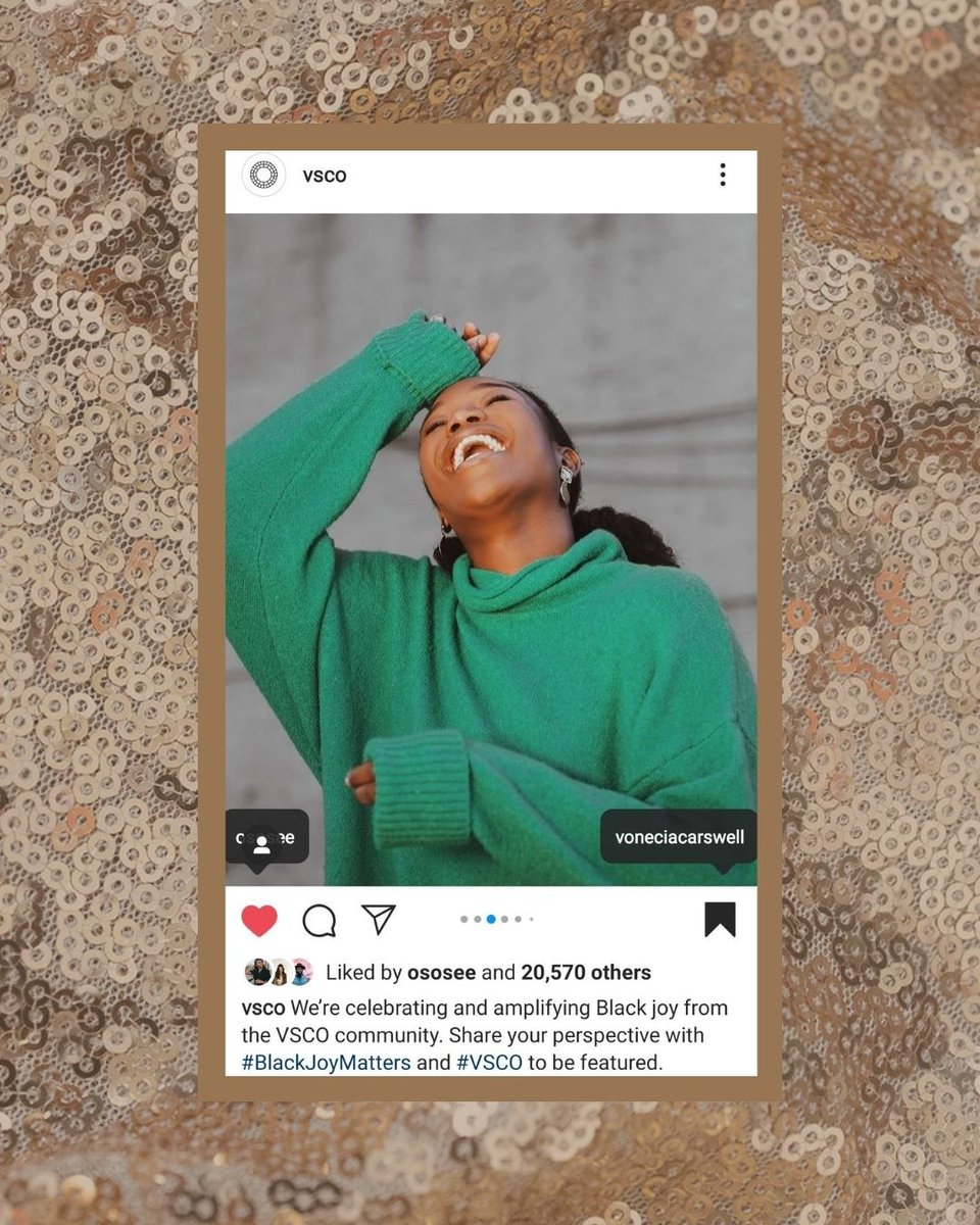 Shout out to @vsco for featuring my image of @OsoseOboh! VSCO is celebrating images of Black joy and stories through its #blackjoymatters initiative. Documenting joy has always been the priority in my work, so especially excited to amplify this.