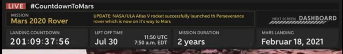 @NASA  @NASAMars  @NASAPersevere  The landing is scheduled in 201 days, the mission will last 2 years so it will return in 2022pic.twitter.com/hFgGvUESGL