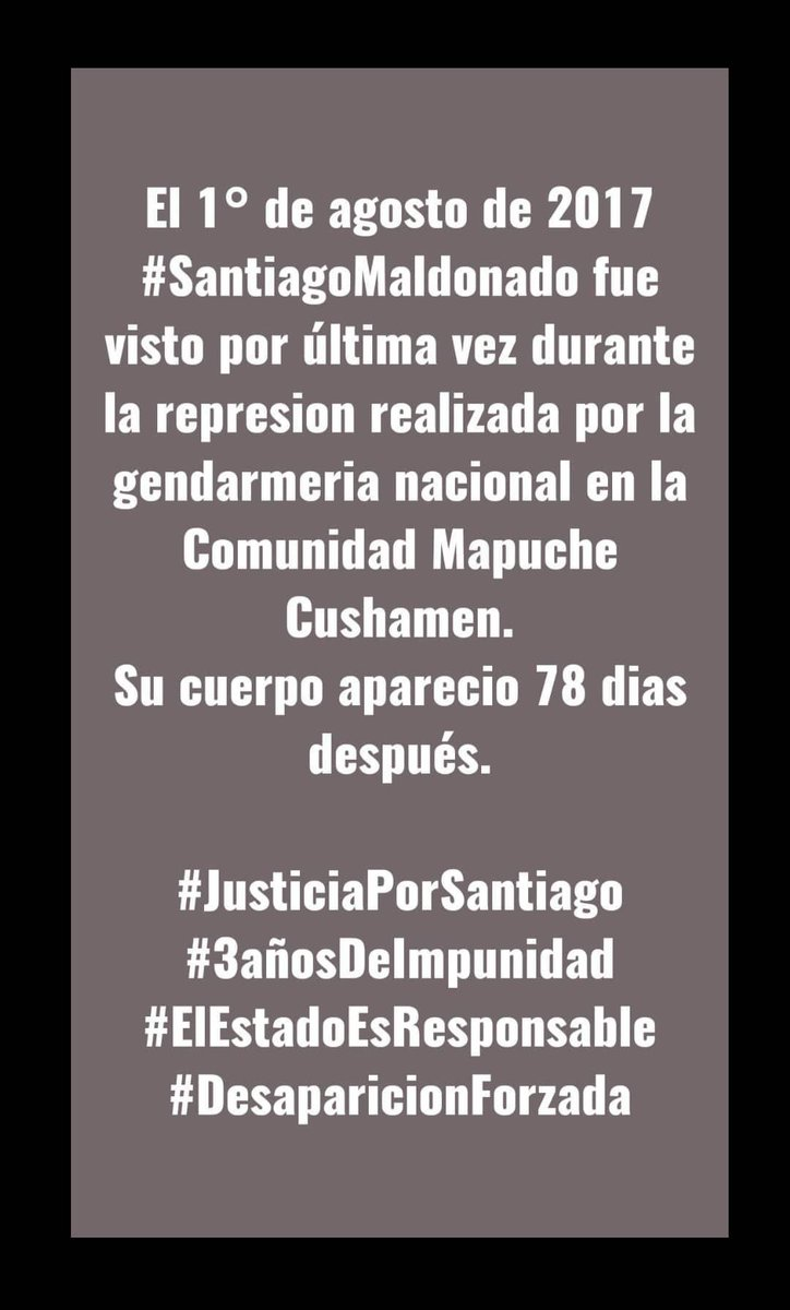 Hoy se cumplen 3 años sin Santiago Maldonado. Seguimos exigiendo justicia!! Muchas fuerzas @vikingomaldo estamos con ustedes. #JusticiaPorSantiago #SantiagoMaldonado #3añosDeImpunidad https://t.co/PxmpQDjdZ0
