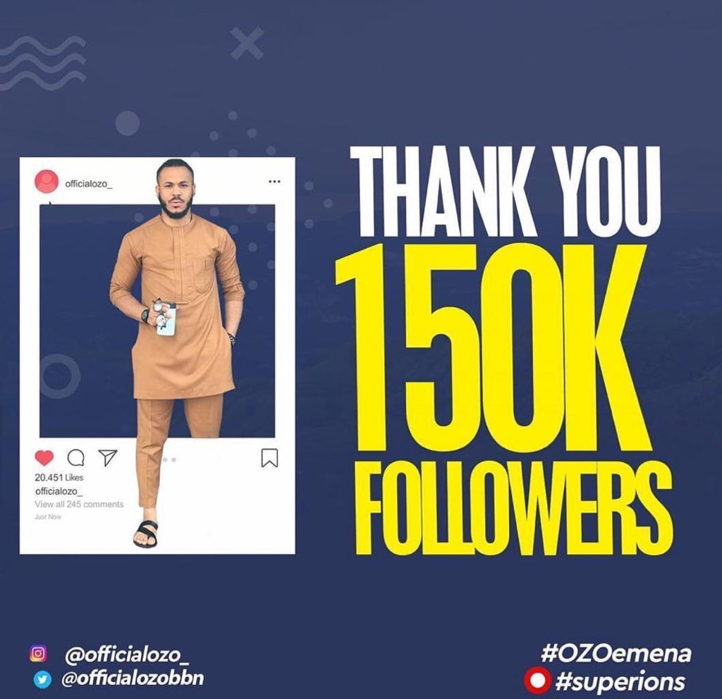 Thank you 150k Insta family!🎉 We see you all and we love you!❤️ #Superions⭕️ #BBNaija #ManLikeOzo