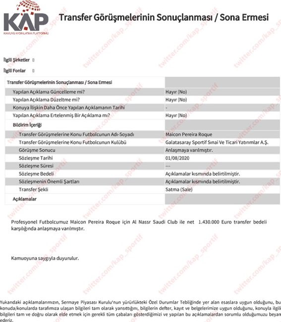 EeWo N9XoAAgaR0?format=jpg&name=small - Son dakika: Galatasaray Maicon transferini KAP'a bildirdi