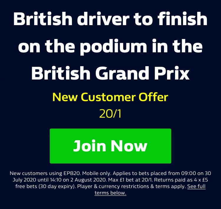 20/1 for Any British driver to finish on the podium 🇬🇧 in British Grand Prix 🚗🏁 Get the Odds here on your Mobile > https://t.co/ILt6lc5iW6 T&Cs Apply 18+ New Customers #BritishGP #F1 #Hamilton https://t.co/PFaQzQoe0N