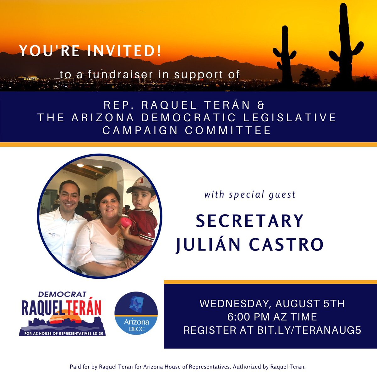 #TeamTerán is excited to announce we will be joined by fmr. Secretary ⁦@JulianCastro⁩ at our Wednesday event benefiting our campaign and the ⁦@A_DLCC⁩ to ensure a pathway to the majority in the #AZ House and Senate. Register here: us02web.zoom.us/meeting/regist…