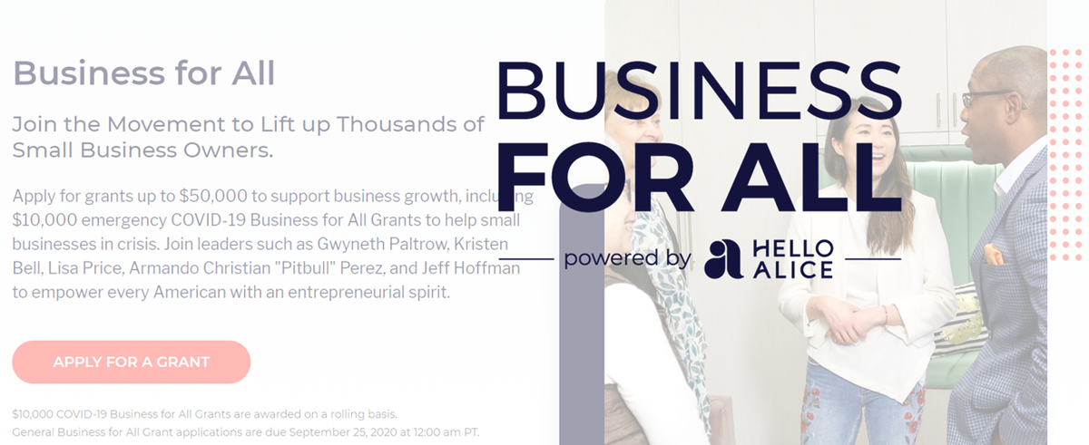 The #BusinessForAll movement by @HelloAlice aims to lift up thousands of #smallbusiness owners with a grant for #Covid19 relief and business growth. For more grant and loan opportunities visit our research page at https://www.slc.gov/ed/covid19/more-covid-19-grants-and-financial-resources/…pic.twitter.com/qRgkurOrhw