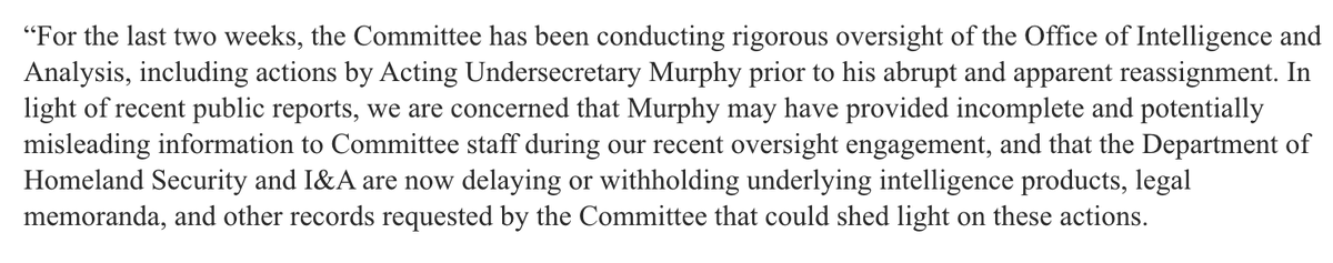 """Now, Rep. Adam Schiff, the chairman of the House Intelligence Committee, says he's concerned Murphy """"may have provided incomplete and potentially misleading information to committee staff"""" about I&A activities in Portland. https://t.co/ukNIar5uRJ"""