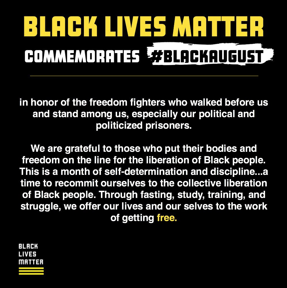 #BlackAugust a time to remember our dedication to the fight for Black Lives.