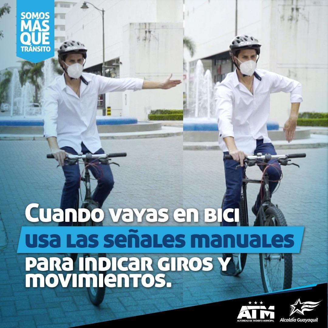 Andar en bici es chévere, pero hazlo tomando todas las medidas de seguridad. ¡Juntos aportamos por una movilidad sostenible en #Guayaquil!  #SomosMásQueTránsito. https://t.co/tt9lcNM1NR